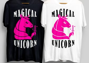 Magical Unicorn T-Shirt Design for Commercial Use