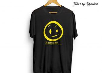 Smiley hmm Emoticon graphic t-shirt design