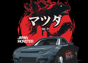 JAPAN MONSTER CAR t-shirt design for sale
