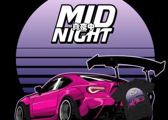 midnight Rocket bunny t-shirt design for sale
