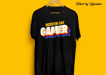 Modern Day Gamer Retro t shirt design for download