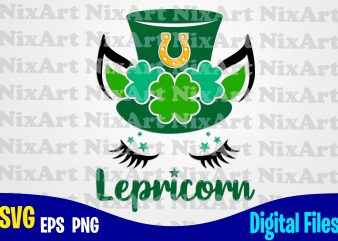 Lepricorn, Patricks day, Unicorn, Unicorn head, Unicorn face, Unicorn svg, Funny Unicorn design svg eps, png files for cutting machines and print t shirt designs for sale t-shirt design png