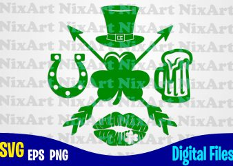 Luck, Horseshoe, Beer, Lips, Clover, Hat, Patricks day, Shamrock, Shamrock svg, Funny Patricks day design svg eps, png files for cutting machines and print t shirt designs for sale t-shirt design png