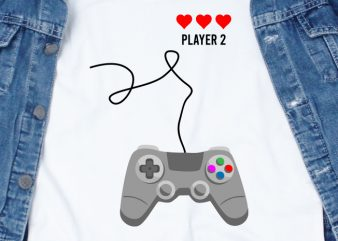 Player 2 Console Love SVG – Love – Console – Couple – Valentine t-shirt design for commercial use
