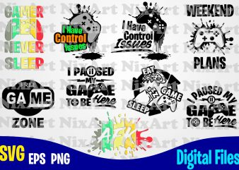 Gamer Designs bundle, 9 vector gaming designs, Funny Gamer design svg eps, png files for cutting machines and print t shirt designs for sale t-shirt design png