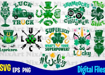 Patricks day bundle, Patrick's day, Lucky, Clover, Shamrock, Patrick, st. Patricks day, Funny Patricks day design svg eps, png files for cutting machines and print t shirt designs for sale t-shirt design png