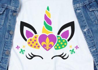 Unicorn Mardi Gras SVG – Festival – t-shirt design for commercial use