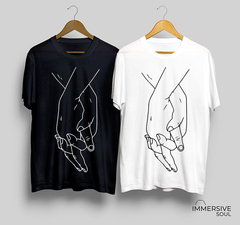 Love Hands T-Shirt Design for Commercial Use