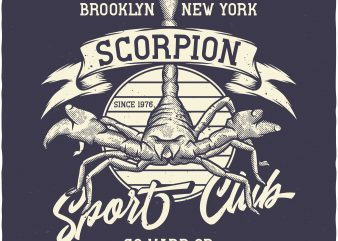 Scorpion sport club t-shirt design for commercial use