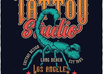 Scorpion tattoo studio t shirt design for download