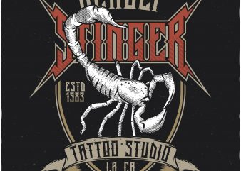 Deadly stinger tattoo studio t shirt design to buy