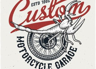 Custom motorcycle garage t shirt design for purchase
