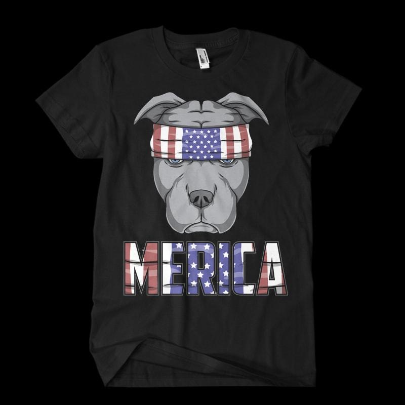pitbull dog usa flag t shirt design to buy