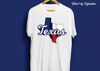 Texas Map Typography t shirt design for commercial use
