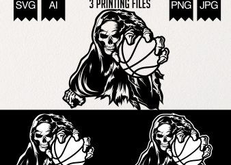 Grim basketball illustration commercial use t-shirt design