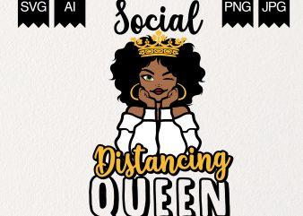 Social Distancing Queen t-shirt design png