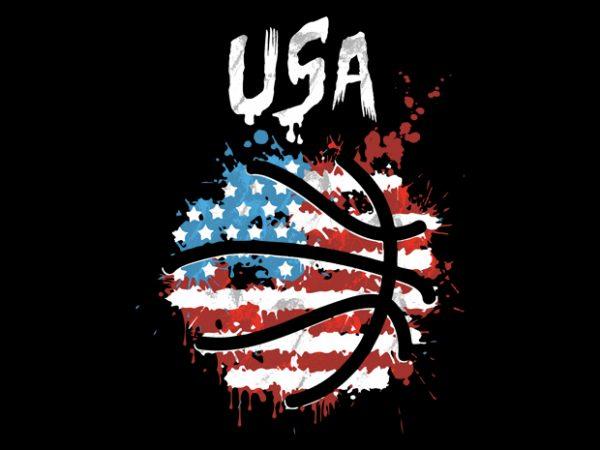 usa basketball t-shirt design png