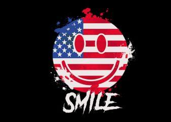 usa smile t shirt design for download