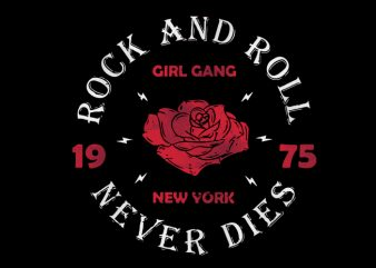 rock roll girl t shirt design for download