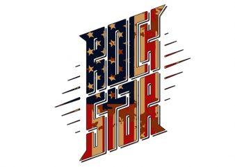 rock start trumo usa flag t-shirt design for commercial use