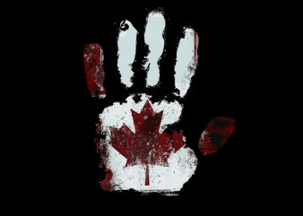handprint canadian flag graphic t-shirt design
