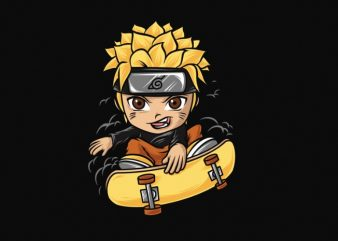 naruto skateboarding cartoon chibi anime png file transparent background ready to print or dtg t shirt design for sale
