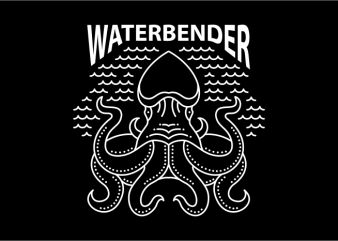 Water Bender t shirt design template