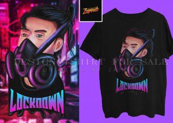 Lockdown Printable digital art and Tshirt design PNG, JPG