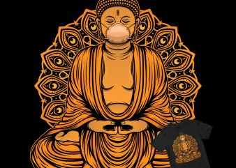 Buddha statue with a mask buy t shirt design for commercial use