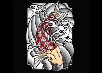 Koi Fish Tattoo graphic t-shirt design