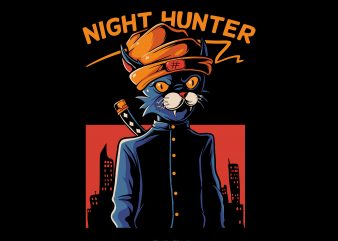 Night hunter t shirt design for sale