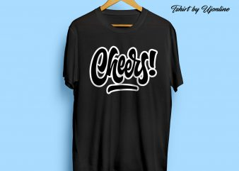 Cheers Typography t shirt design template