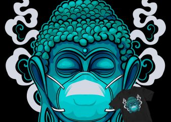 Buddha statue with a mask fight coronavirus t-shirt design for commercial use