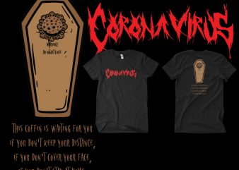 Corona Virus death metal shirt design png
