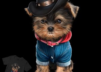 cute pug cowboy hats t shirt design for download