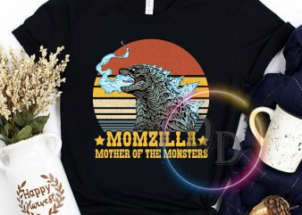 Momzilla Mother of the Monsters VIntage Mother's day print ready t shirt design