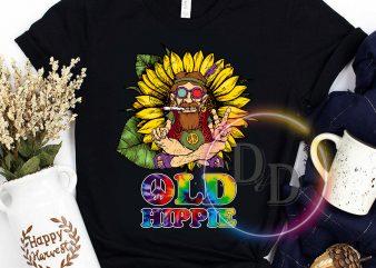 Old Man Hippie TIe Dye Peace Sunflower t-shirt design png
