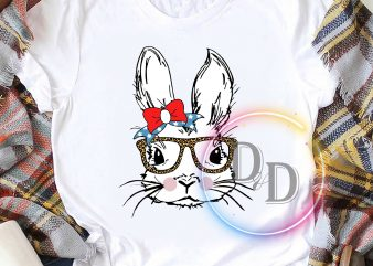 Bunny Rabbit Leopard Glasses Happy Easter day America Ribbon t shirt design for purchase