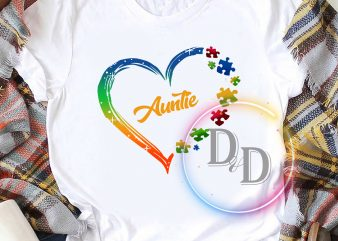 Auntie Autism Awareness heart ready made tshirt design