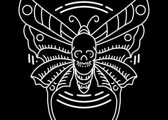 butterfly skull tshirt design