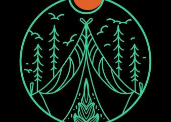 forest summer camp tshirt design
