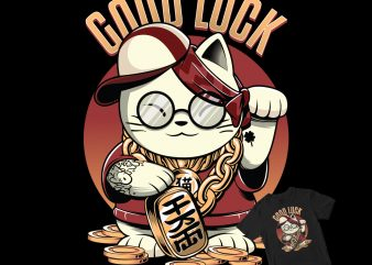 Lucky rich cat funny buy t shirt design artwork