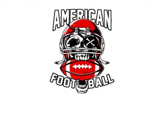 American skull football t shirt design template