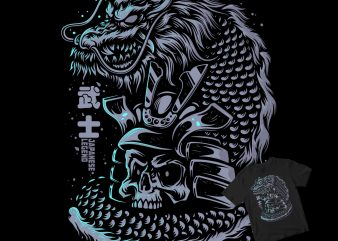 Japanese samurai dragon shirt design png