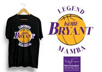 Kobe Bryant (Legends -Mamba) Print T-Shirt Design