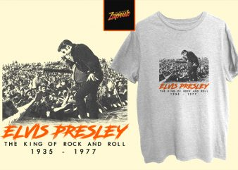 Music Series – Evlis Presley moment the king of rock and roll print ready t shirt design