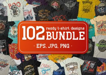 102 ready t-shirt designs BUNDLE