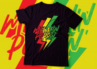 melanin poppin' thunder backgrounf colourful design | buy t shirt design