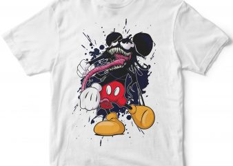 venom mickey cartoon halloween t shirt design for purchase