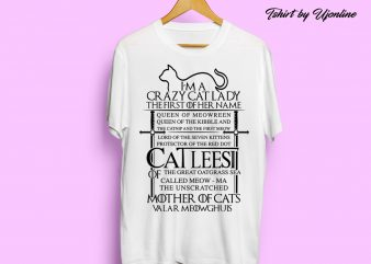 Mother Of Cats graphic t shirt design for sale